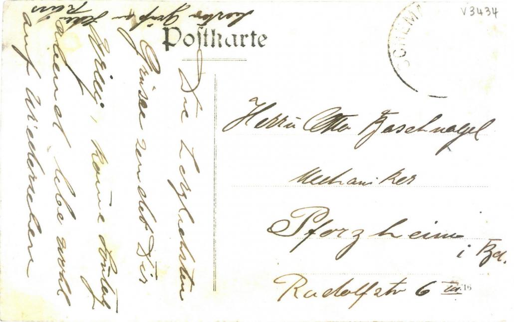 Postkarte Luftschiffer –Rückseite